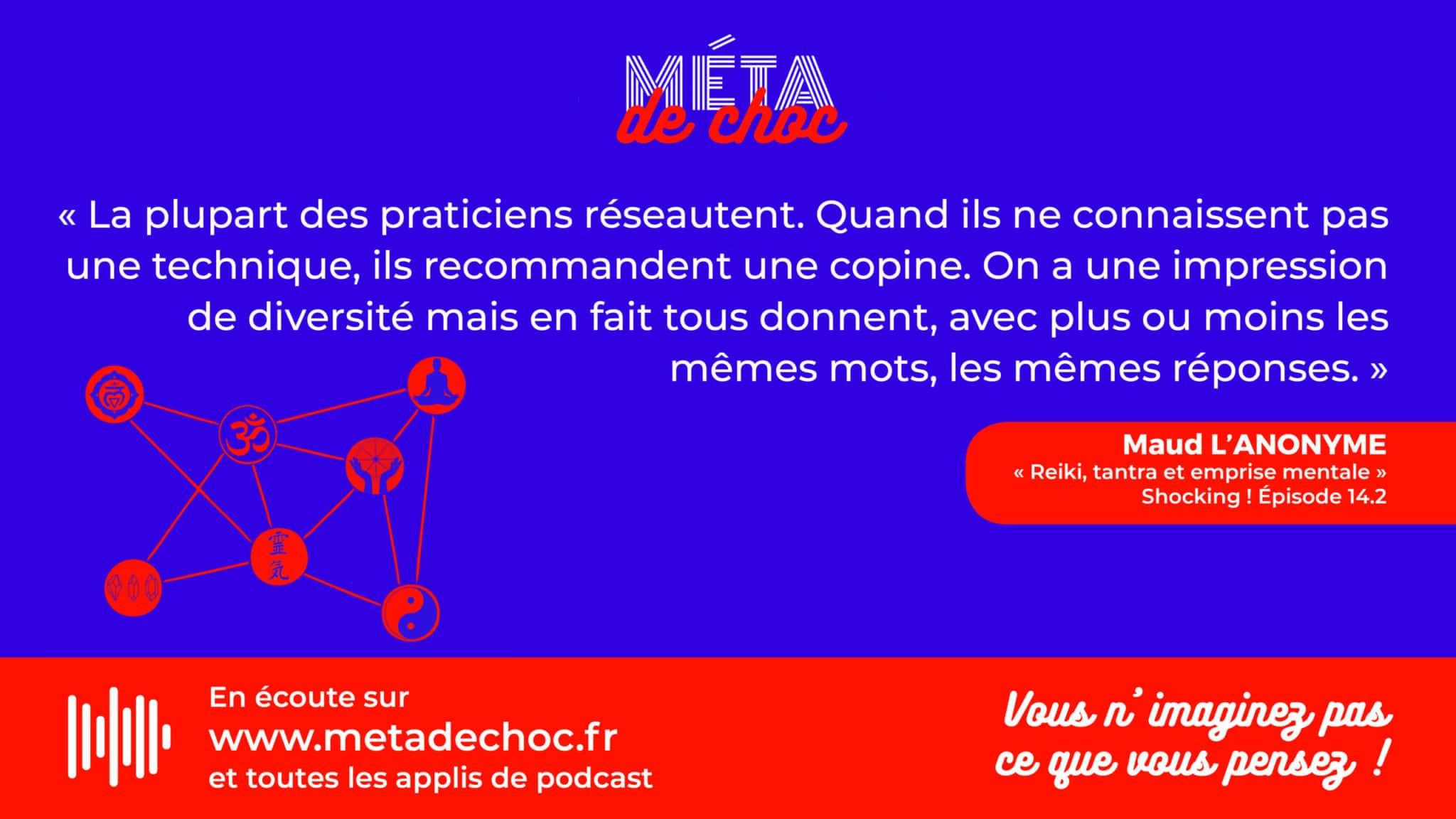 Thème du mème :  | Citation :  | Auteur.rice : Maud L'anonyme | Émission : Reiki, Tantra et emprise mentale | Image d'illustration :